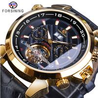 FORSINING トゥールビヨン メンズ腕時計 機械式 自動巻き 本革ベルト 日付表示 高級 海外トップブランド 選べる3色