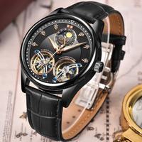 【LIGE】 2020 トゥールビヨン メンズ腕時計 5気圧防水 自動巻き 機械式 レザーベルト ラグジュアリー 発光 ルミナスハンズ 海外トップブランド 選べる4色