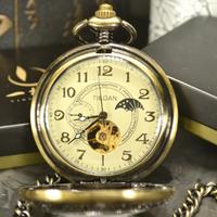 TIEDAN 懐中時計 アンティーク スケルトン チェーン 手巻き 機械式 メンズ プレゼント どこか懐かしくホッとするデザイン★