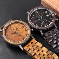 BOBO BIRD 日付表示 ウッドバンド クォーツ 木製腕時計 レディース メンズ ユニセックス ボボバード 海外高級ブランド プレゼントにも S08 選べる3色