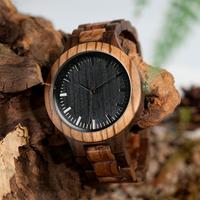 ボボバード 木製腕時計 BOBO BIRD 黒い文字盤 ツートンカラー ゼブラウッド+エボニー クォーツ メンズ 木の温もり D30