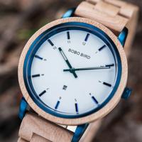 【ボボバード】 腕時計 木製 レディース BOBO BIRD クォーツ 女性 おしゃれな白+青 選べる2色 【GT022】