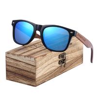 BARCUR 偏光サングラス 木製フレーム メンズ UV400 スクエア 軽量 運転 ドライブ 旅行 海 ビーチ 釣り アウトドア 海外トップブランド 5色