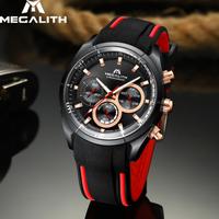 【MEGALITH】 スポーツウォッチ ラバーバンド 防水 メンズ 腕時計 クォーツ 高級 スポーツ アウトドア 爽やか 【3色】