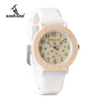 白い文字盤 かわいい星マーク シリコンバンド 腕時計 ボボバード レディース 木製 BOBO BIRD ホワイト クォーツ P21