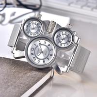 Oulm メンズ腕時計 3つの文字盤 ごつい トリプルタイム 大きい ユニーク クォーツ ステンレスメッシュベルト ヴィンテージ 個性的 スチームパンク 選べる3色