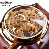 T-WINNER メンズ腕時計 スケルトン 本革ベルト 機械式 高級 レトロ 発光 海外トップブランド おしゃれな文字盤 人気 選べる3色