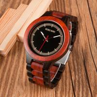 ボボバード 木製腕時計 BOBO BIRD アンティーク ウッドバンド 渋い メンズ クォーツ レッド ブラック 木製ギフトボックス付き★