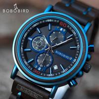 【BOBO BIRD】 クロノグラフ 防水 木製腕時計 メンズ ミリタリー 日付表示 クォーツ 発光 ルミナスハンズ プレゼントにもおすすめ S18-6