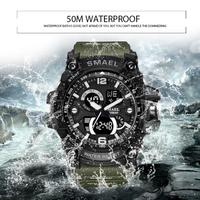【タフな50m防水】 SMAEL S-SHOCK ミリタリーウォッチ 高級 軍事 クォーツ LEDデジタル ストップウォッチ 日付表示 選べる3色 【1617B】