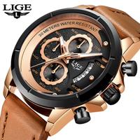 LIGE クロノグラフ ミリタリー メンズ腕時計 クォーツ 防水 日付表示 レザーベルト 発光 ルミナスハンズ ストップウォッチ 海外トップブランド 選べる5色