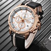 【LIGE】 2020 腕時計 メンズ 大きい文字盤 クロノグラフ レザーベルト 3気圧防水 日付表示 クォーツ 発光 ルミナスハンズ カジュアル 人気 海外 トップブランド 選べる3色