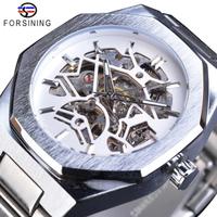 【FORSINING】 自動巻き メンズ腕時計 スケルトン 機械式 3気圧防水 ステンレスバンド ビジネス ルミナスハンズ 発光 海外トップブランド 高級 かっこいい 選べる4色
