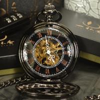 TIEDAN 懐中時計 アンティーク 機械式 スケルトン 手巻き式 チェーン メンズ 高級感漂うデザイン
