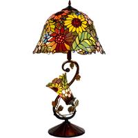 テーブルランプ ステンドグラス 高級 花柄 花 エレガント カラフル アンティーク ヴィンテージ 手作り ホテル バー 業務用 寝室 ナイトライト ベッドサイドランプ 41×74cm