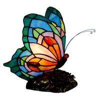 ナイトライト テーブルランプ ステンドグラス 蝶 手作り LED 子供 業務用 カラフル ベッドサイドランプ おすすめ おしゃれ 人気 23×30cm