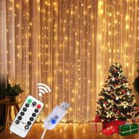 【クリスマスライト】 家 点滅 おしゃれ カーテンライト ストリング 【リモコン付き】