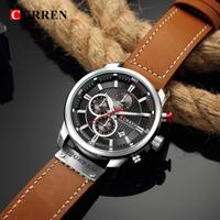 CURREN 防水 3BAR 腕時計 メンズ 多機能 レザーベルト クォーツ カレン クロノグラフ 日付表示 スポーツウォッチ 高級 海外人気ブランド 選べる6色