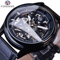 【ブラック】 FORSINING クラシック スケルトン 手巻き 機械式 メンズ腕時計 防水 レザーバンド ファッション ブラック 【海外高級ブランド】