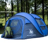 HUI LINGYANG 自動テント 3~4人用 ポップアップテント 設置が簡単 コンパクトに収納 雨に強い キャンプ ビーチ アウトドア 超軽量 高い防水性
