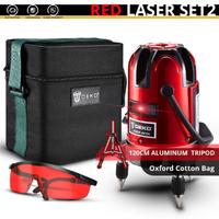 DEKO レーザー墨出し器 セット 三脚付き 赤 コスパ抜群 5ライン 6ポイント 360度 水平 垂直 レッド 人気 おすすめ 高性能 オックスフォード製の便利な箱付き★