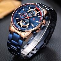 MINIFOCUS メンズ腕時計 防水 クロノグラフ 日付表示 光る クォーツ 金属ベルト 海外高級ブランド 人気 選べる4色