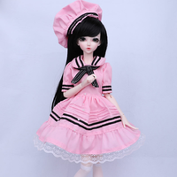球体関節人形 BJD フルセット 1/4 女の子 本体+眼球+服+靴+ウィッグ メイクアップ済み カスタムドール 美少女 ピンクの衣装 40cm 選べる3色