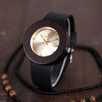 BOBO BIRD リッチ&エレガント レディース 本革ベルト エボニーウッド 木製腕時計 クォーツ 日付表示 C03 C02 金 白 かわいいギフトボックス付き 選べる2色 プレゼントにも