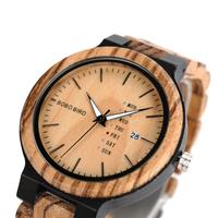 BOBO BIRD 木製腕時計 ボボバード 日付機能付き 曜日 表示 メンズウォッチ ビジネス 選べる2色