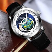 【2020】 MEGALITH ロマンチックな文字盤 メンズ腕時計 自動巻き レザーベルト 機械式 防水 高級 海外トップブランド 【選べる3色】