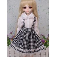 球体関節人形 ドレス チェック柄 白 黒 ドール衣装 服 BJD カスタムドール おしゃれ 可愛い 1/3 1/4 1/6 選べる3サイズ