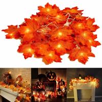 【ストリングライト】 LED カエデ 葉っぱ 室内 ハロウィン クリスマス 【20灯】