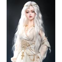BJD ウィッグ ロング ウェーブ 白 球体関節人形 カスタムドール かつら 髪 アクセサリー SD DD MSD YOSD 上品 ホワイト 選べる4サイズ