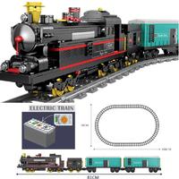 レゴ互換 貨物列車 動く レール セット トレイン 電車 電池式 乗り物 シティ 列車 LEGO風 ブロックセット 知育玩具 81cm