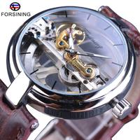 【海外高級ブランド】 FORSINING スチームパンク スケルトン 自動巻き 本革バンド メンズ腕時計 機械式 ルミナスハンズ ラグジュアリーウォッチ 【選べる2色】