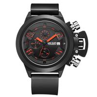 【MEGIR】 クロノグラフ 腕時計 メンズ 3気圧防水 日付表示 シリコンバンド 海外トップブランド 高級 機能性抜群 選べる2色