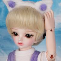 球体関節人形 BJD 1/6 猫耳が可愛い 女の子 フルセット 本体+眼球+服+靴+ウィッグ メイクアップ済み カスタムドール 26cm 選べる2色