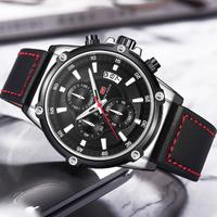【MINIFOCUS】 メンズ 腕時計 クロノグラフ 防水 本革ベルト クォーツ 日付表示 海外トップブランド 高級 爽やか 選べる3色