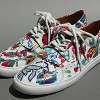 wing tip flower print WHITE