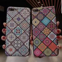 レトロ花 民芸花 格子柄 iPhone保護ケース 北欧 ダイヤモンド