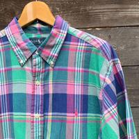 Polo Ralph Lauren /ポロラルフローレン マドラスチェック半袖ボタンダウンシャツ 2000年前後 (USED)