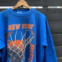 NBA NEW YORK KNICKS/ニューヨークニックス プリントスウェット 91年 Made In USA (DEADSTOCK)