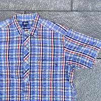STUSSY/ステューシー シアサッカーチェック半袖シャツ 2000年前後 Made In USA (USED)
