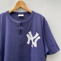 MAJESTIC MLB YANKEES/マジェスティック ヤンキース ヘンリーネックTシャツ 90年前後 Made In USA (USED)
