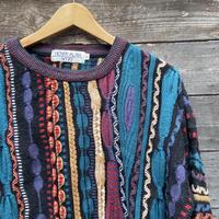 HENRY ALLAN/ヘンリーアラン 3Dミックスストライプ柄セーター 90年代 Made In USA (USED)