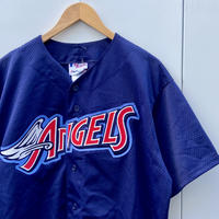 Majestic MLB ANGELS/マジェスティック ロサンゼルスエンゼルス ベースボールシャツ 00年代 made In USA (USED)
