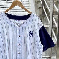 MLB NEW YORK YANKEES/ニューヨークヤンキース 天竺ベースボールシャツ 90年代 (USED)