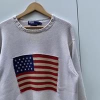Polo Ralph Lauren/ポロラルフローレン 星条旗柄コットンセーター 2000年前後 (USED)
