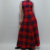 VINTAGE   CHECK  LONG ONE PICE