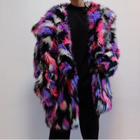 VINTAGE   FAKE MIX FUR COAT